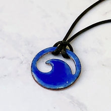 Load image into Gallery viewer, Royal Blue Enamel Mini Wave Necklace