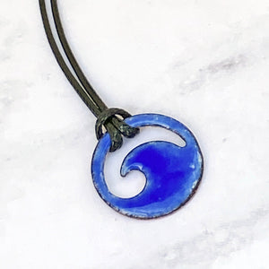 royal blue enamel mini wave necklace with black cord