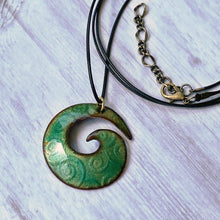 Load image into Gallery viewer, spiral transparent green enamel necklace