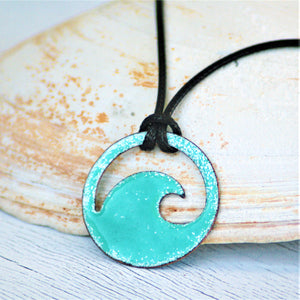 seagreen enamel wave unisex necklace black cord