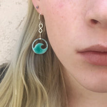 Load image into Gallery viewer, seagreen mini wave enamel eternity earrings seaside harmony