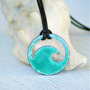 seagreen enamel wave unisex necklace