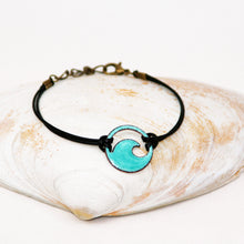 Load image into Gallery viewer, Seagreen Enamel Mini Wave Bracelet - Seaside Harmony Jewelry