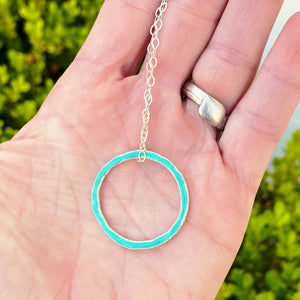 seagreen fine silver open circle karma eternity necklace with sterling silver chain seaside harmony jewelry