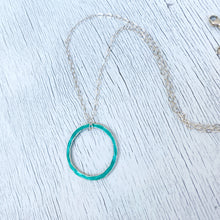 Load image into Gallery viewer, seagreen fine silver open circle karma eternity necklace with sterling silver chain seaside harmony jewelry