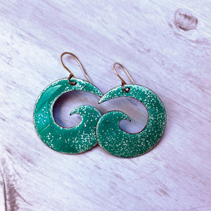 seagreen and white enamel spiral earrings