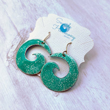 Load image into Gallery viewer, seagreen and white enamel spiral earrings