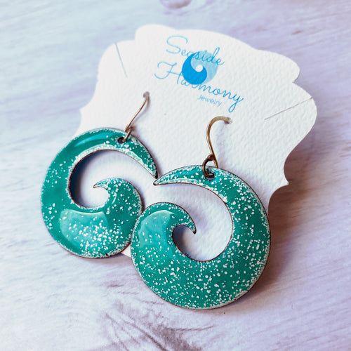 Seagreen over white Spiral enamel earrings- Geometric