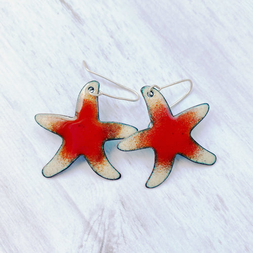 star fish sea star red and cream enamel earrings
