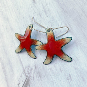 red and cream sea star starfish enamel earrings