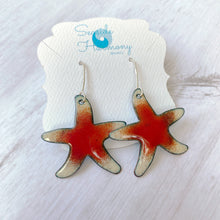 Load image into Gallery viewer, red and cream sea star starfish enamel earrings