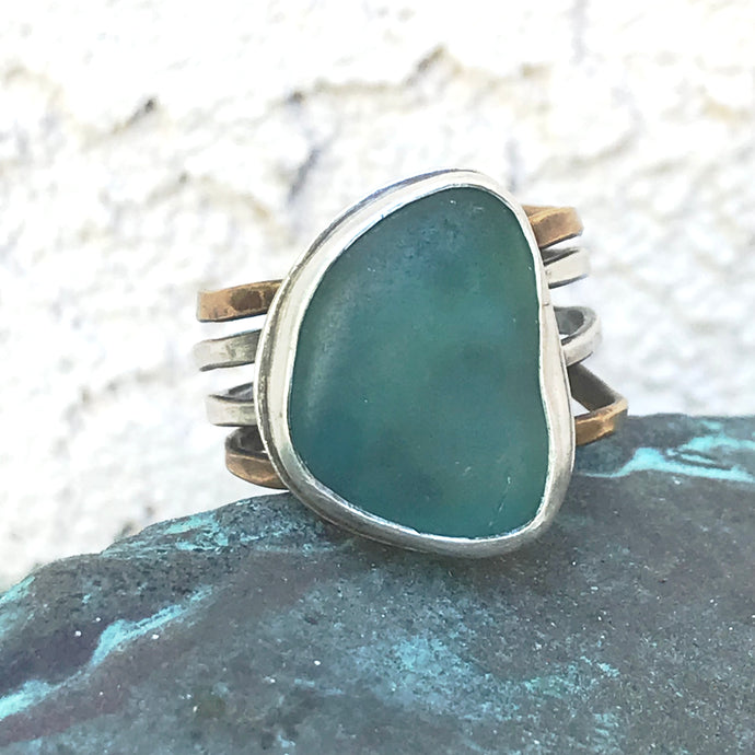 teal sea glass 4 banded sterling silver and brass ring seaside harmony