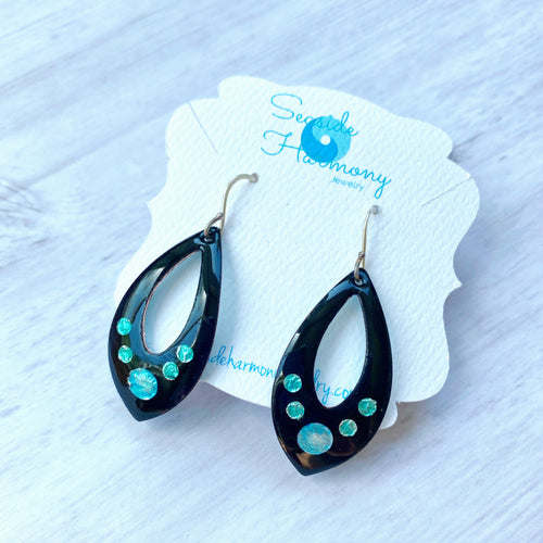 Black open teardrop enamel earrings with silver aqua and seagreen bubbles