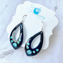 Load image into Gallery viewer, open black tear drop earrings with blue and seagreen bubbles
