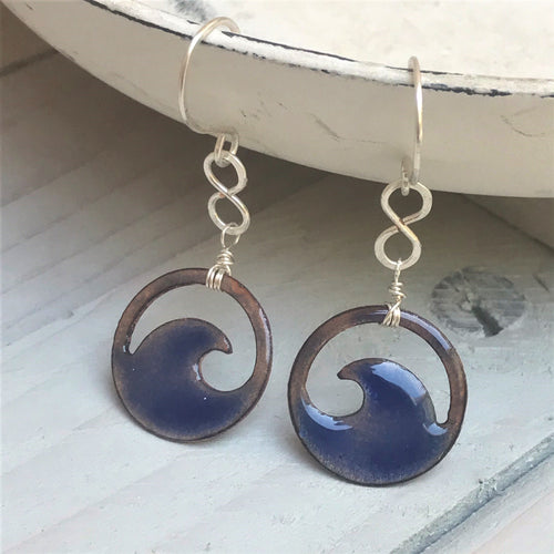 Transparent Royal Blue Copper enamel wave eternity earrings