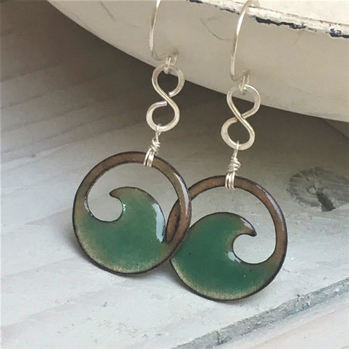 Transparent Seagreen Copper enamel wave eternity earrings
