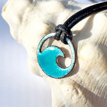 Load image into Gallery viewer, Turquoise Blue Enamel Mini Wave Necklace - Seaside Harmony Jewelry