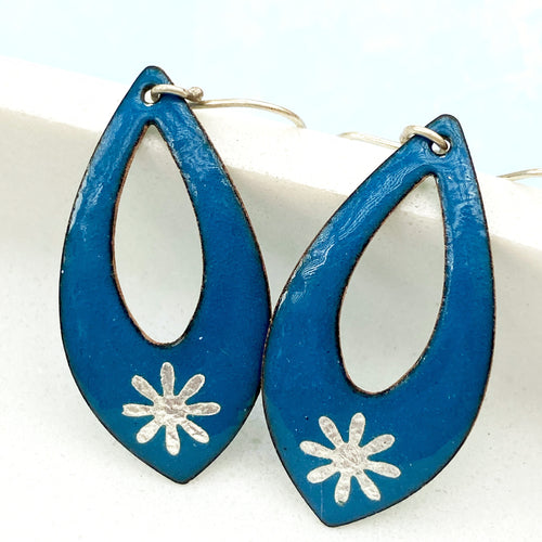 Blue enamel silver snowflake earrings