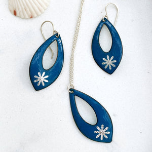 blue enamel silver snowflake necklace and earring set