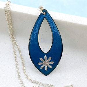 blue enamel silver snowflake necklace with silver chain