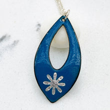 Load image into Gallery viewer, blue enamel silver snowflake necklace with silver chain