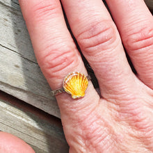 Load image into Gallery viewer, Enamel Sunrise Seashell Silver Ring with swirl stamped band - Seaside Harmony Jewelry