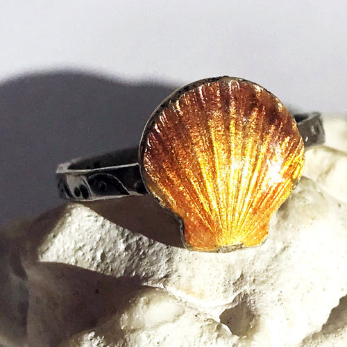 Enamel Sunrise Seashell Silver Ring with swirl stamped band - Seaside Harmony Jewelry