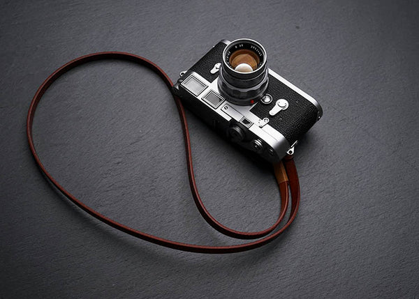 """Comder"" Leather Camera Strap in light coffee leather color"