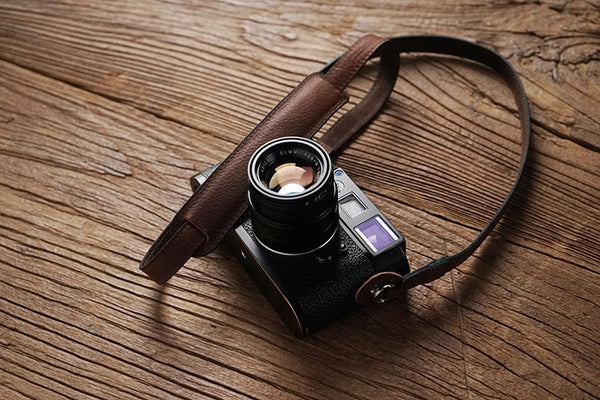 """Purst"" Leather Camera Strap in red brown leather"