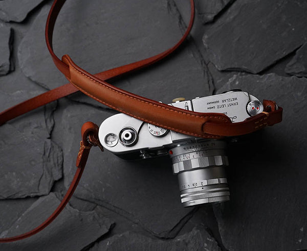 """Roled"" Leather Camera Strap in light coffee color"