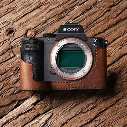 Leather camera half case for Sony A7II A7RII Red brown