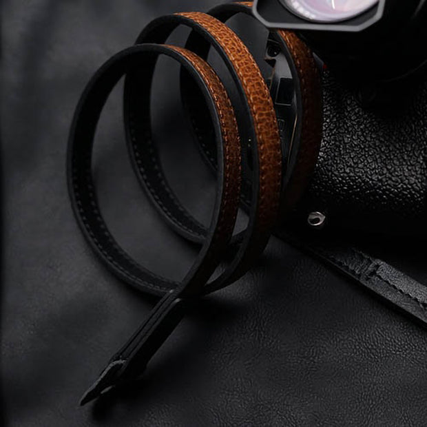 black with red-brown color leather camera shoulder strap
