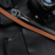 black red-brown leather camera shoulder strap with leica