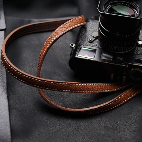 Burtle leather camera strap Camel color