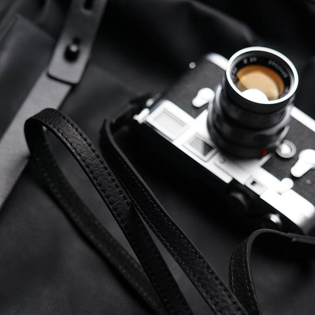 Leather camera strap with leica m9