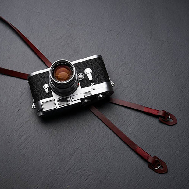 wine-red leather strap for camera