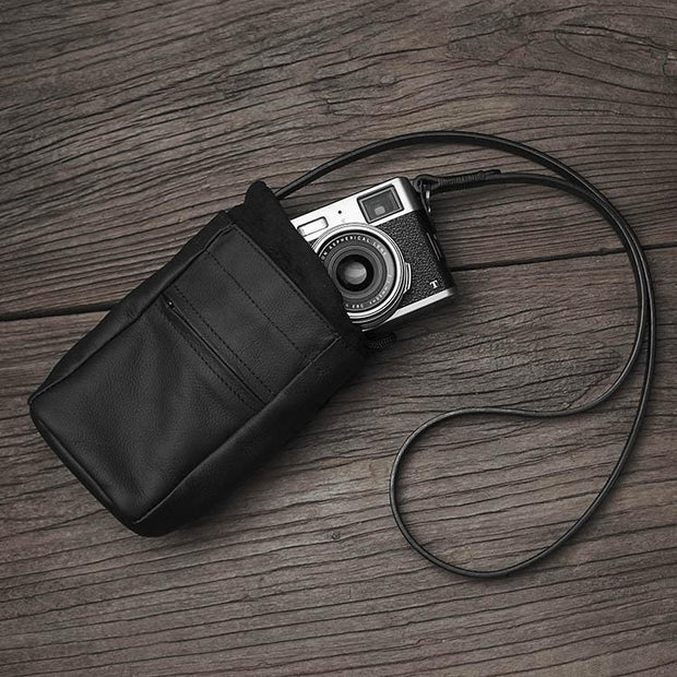 small leather camera case bag