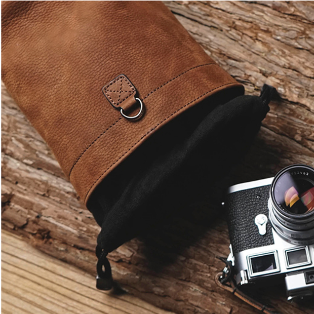 leather camera case bag Brown