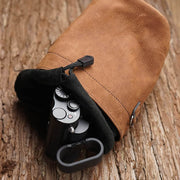 brown leather pouch bag