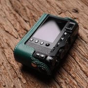 Leather camera half case Green