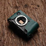 Leather camera half case for Fuji X-E3 Green