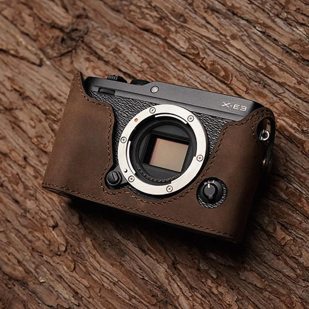 Leather camera half case Horse color