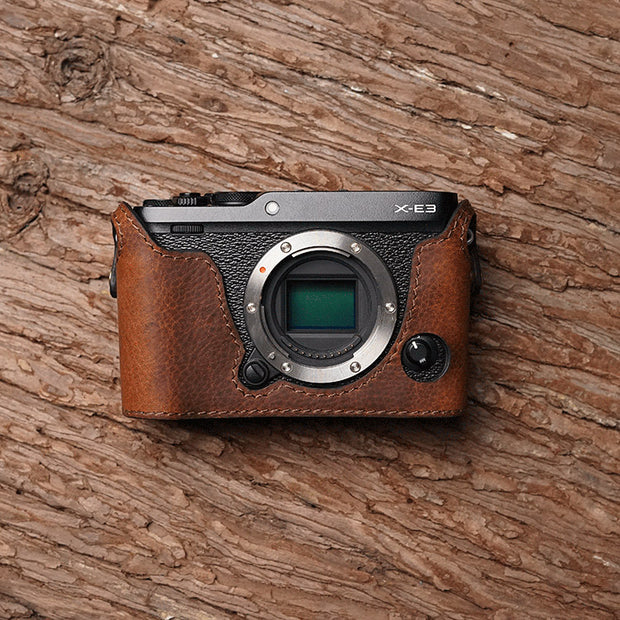 Leather camera half case for Fuji X-E3 Red brown