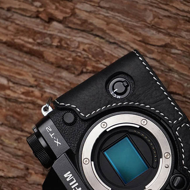 half case for Fuji XT-2 Black with white line