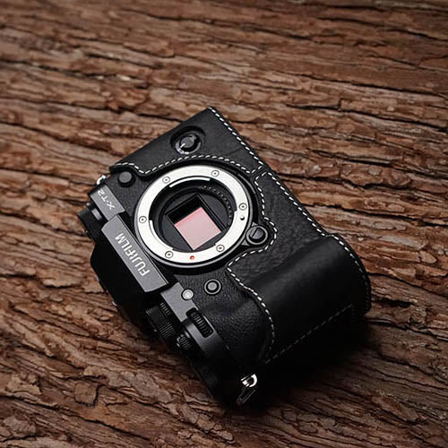 Leather camera black half case for Fuji