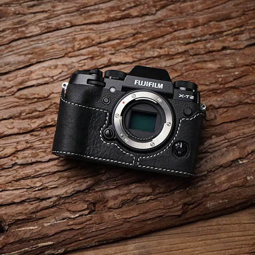 Leather with black with white line half case for Fuji XT-2