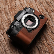 Leather half case for Fuji XT-2 Red brown