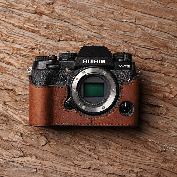 Leather camera half case for Fuji XT-2 Red brown