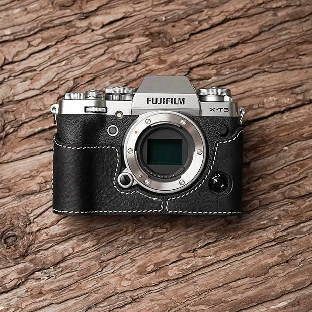 Leather camera half case for Fuji X-T3 Black white line