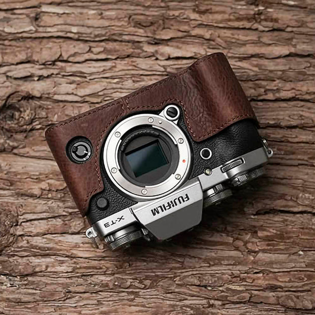 red brown Leather half case for Fuji X-T3